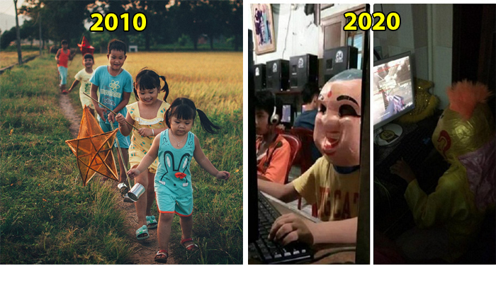 Loạt ảnh mô tả Tết Trung Thu xưa và nay sau 10 năm 2